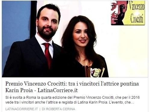 Latina Corriere .it – Premio Vincenzo Crocitti: tra i vincitori l'attrice pontina Karin Proia